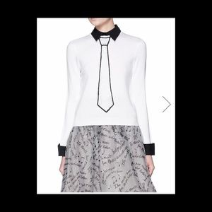 "Alice and Olivia ""Sim Embellished Tie Sweater"""